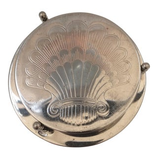 6 Vintage Silver Plated Shell Pattern Drink Coasters in Holder