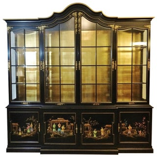 Vintage Gold Leaf Hand-Painted China Cabinet