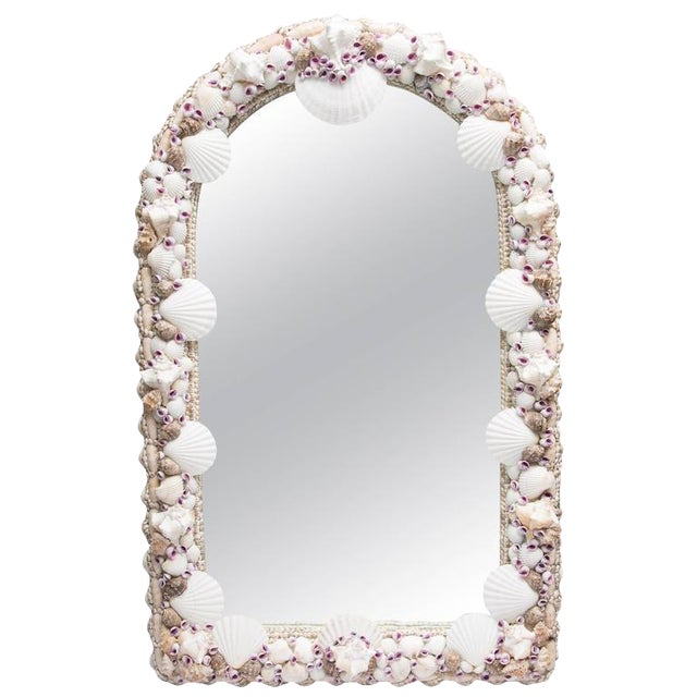Domed Shell Encrusted Mirror - Image 1 of 6