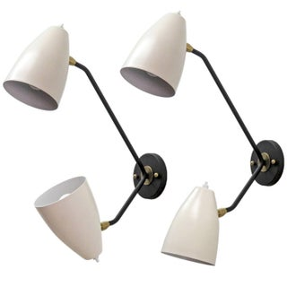 Double Arm Brass Wall Lights 'L3gg' - Pair