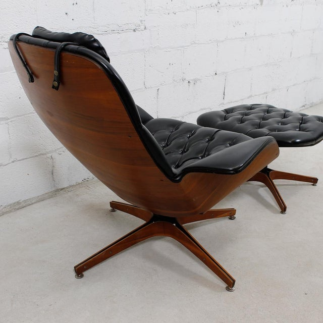 MCM Mulhauser Molded Wood Lounge Chair & Ottoman - Image 8 of 10