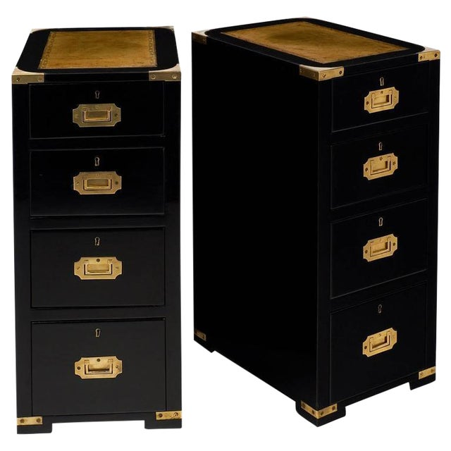 Image of English Campaign Style Ebonized Mahogany Side Tables- A Pair