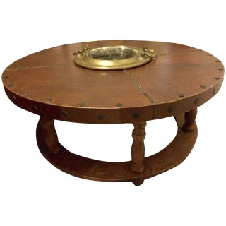 Vintage Post Modern Leather Round Coffee Table