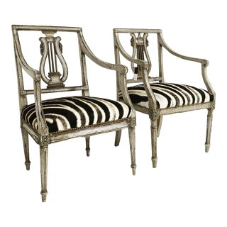 19th Century Italian Neoclassical Zebra Hide Armchairs - A Pair