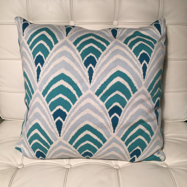 Geometric Cushion Knitting Pattern : Knit Pillow With Aqua Art Deco Geometric Pattern Chairish