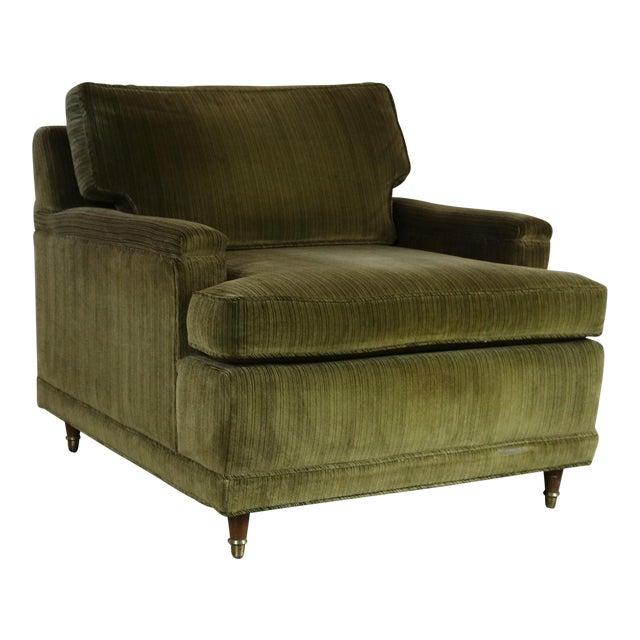 Deep Green Velvet Lawson Style Vintage Club Chair Mid Century Modern - Image 1 of 11