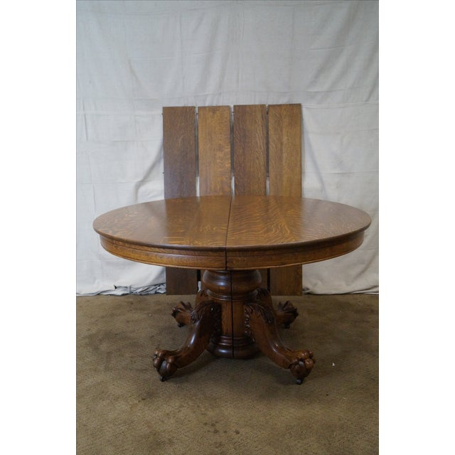 Antique Hastings Round Oak Claw Foot Dining Table