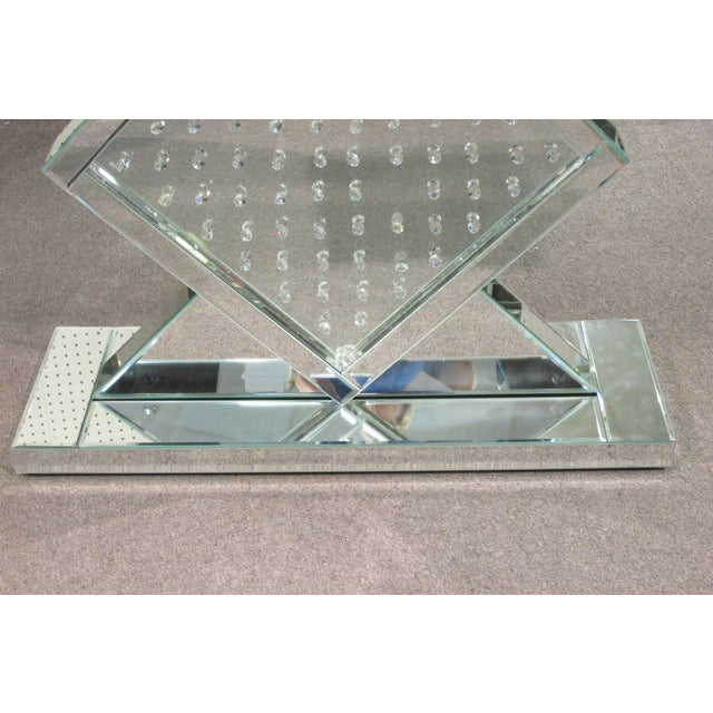 Image of Mid-Century Mirrored Console w/ Inset Crystals