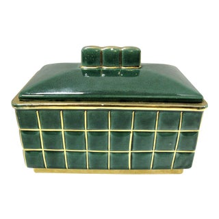 1940s Vintage French Art-Deco Green Porcelain Box
