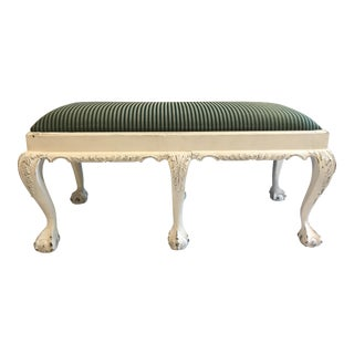Chippendale Style Antique White Painted Claw Foot Bench
