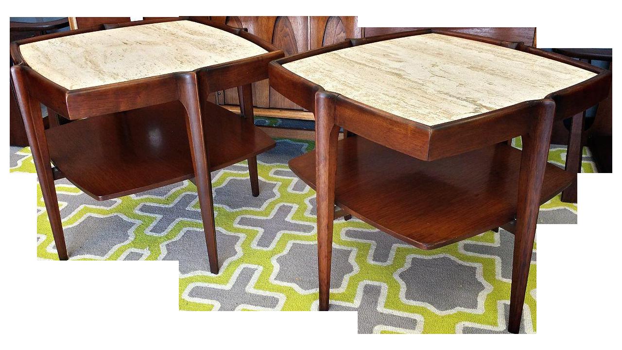 Mid Century Walnut & Travertine Side Tables