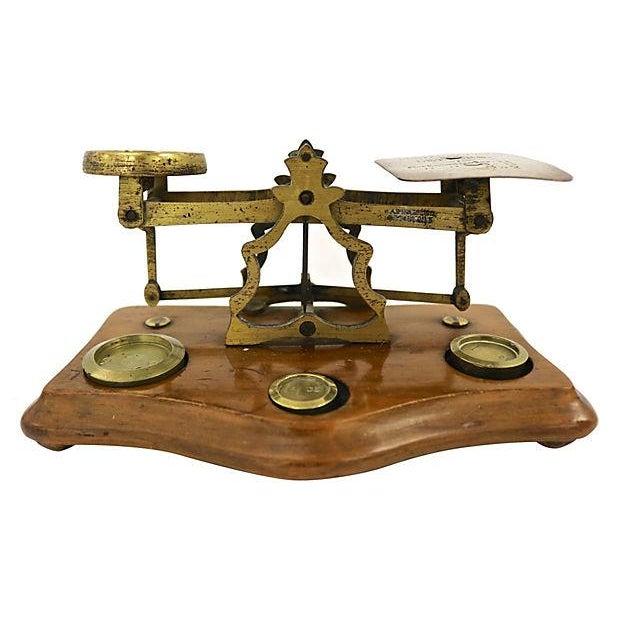 English Brass & Oak Postal Scale - Image 2 of 2