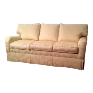 """Ethan Allen """"Chandler"""" Down Feather Filled Yellow Damask Sofa"""