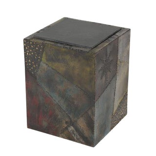 1960S PAUL EVANS WELDED AND POLYCHROMED STEEL CUBE END TABLE