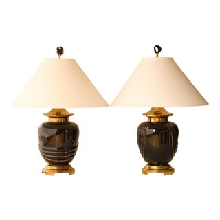 Black and Gold Swirl Table Lamps, A Pair