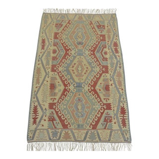 Turkish Kilim Rug Hand Woven Silk Oushak Rug - 3′10″ × 5′11″