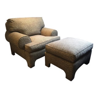 Custom Upholstered Arm Chair & Ottoman