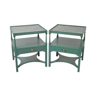 Custom Faux Painted 1 Drawer End Tables - A Pair