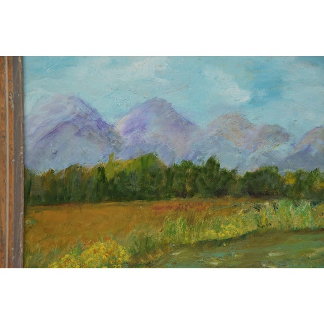 Image of Framed Mountain Landscape Oil Painting