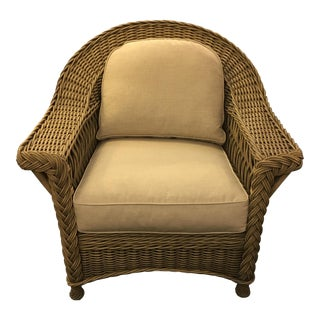Natural Wicker Armchair With Linen Cushions