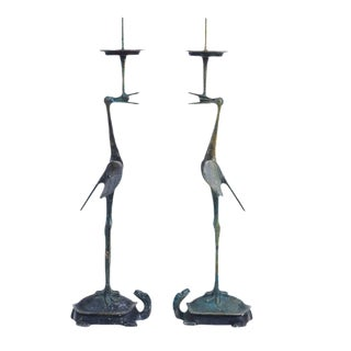 Japanese Crane & Turtle Candleholders - A Pair