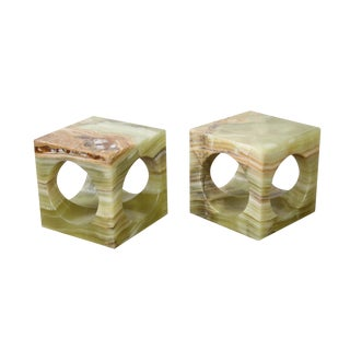 Green Onyx Hollywood Regency Bookends - A Pair
