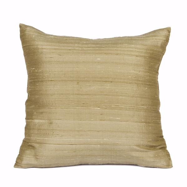 Champagne Raw Silk Square Pillow Covers - A Pair - Image 1 of 2