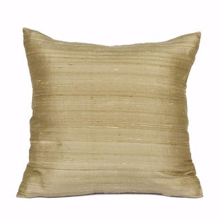 Champagne Raw Silk Square Pillow Covers - A Pair