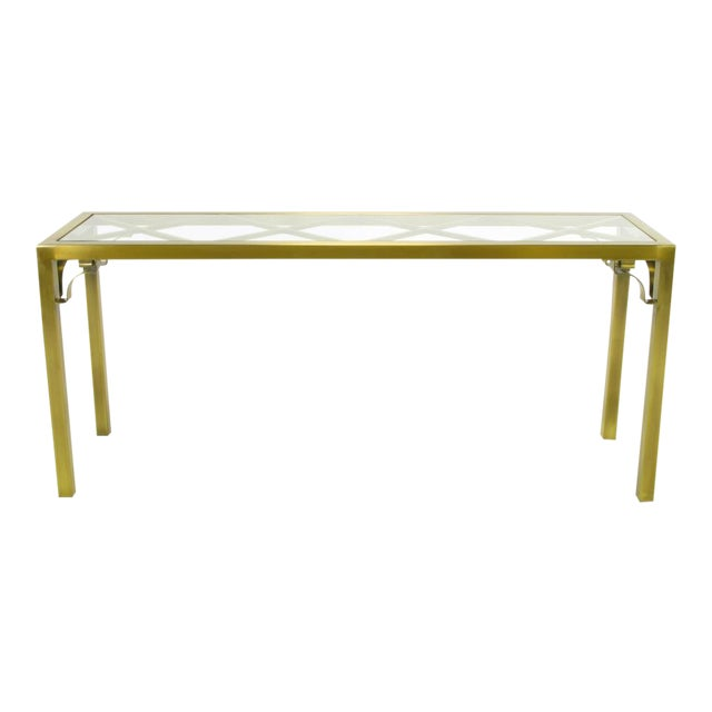 Mastercraft Brass Chinese Chippendale Console Table - Image 1 of 8