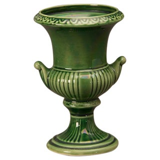 A charmingly small green ceramic Campagna style urn from France c.1875