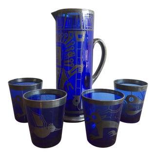 Mid Century Cobalt Blue Mixer Set w/ Aztec Motif - 5 Piece Set