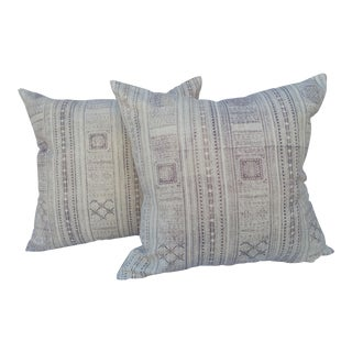 Faded Silver Gray Batik Pillows - A Pair