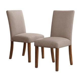 Modern Linen Parsons Chairs - A Pair