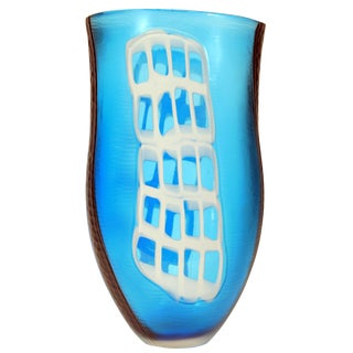 Blue Murrine and Battuto Vase