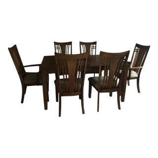 Mission Hills Dining Room Table with Leaf and Six Chairs - Dining Set