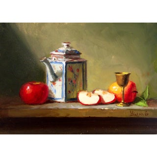 Still Life Painting with Apples, Teapot & Goblet