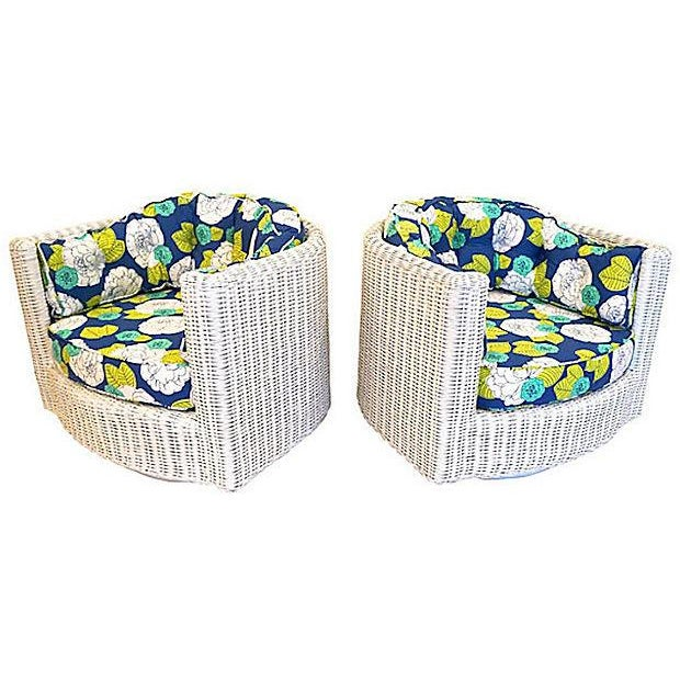 Wicker Yellow Green Swivel Chairs - A Pair - Image 3 of 4
