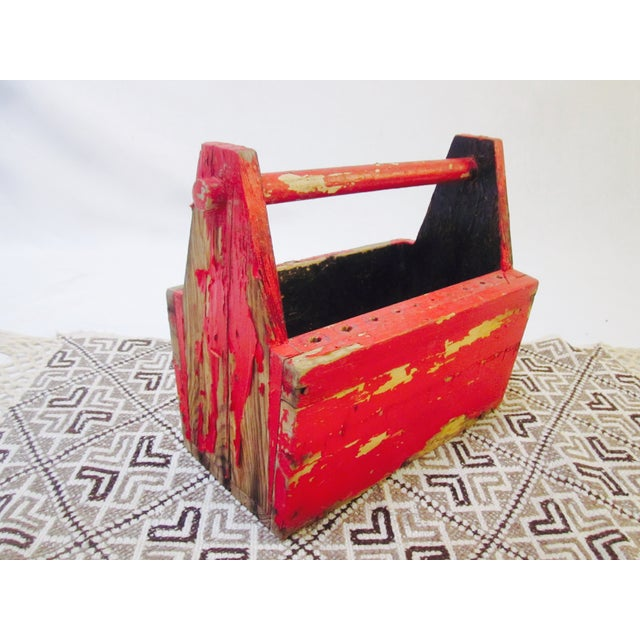 Rustic Red Tool Box Carrier Caddy - Image 5 of 7