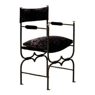 French Empire Style Iron & Velvet Arm Chair