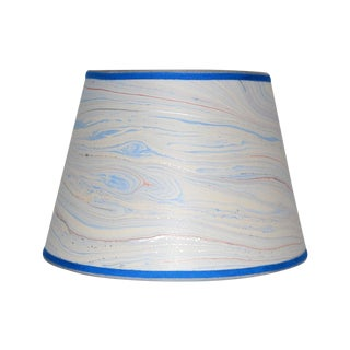Blue Marble & Silver Lampshade