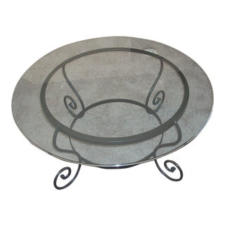 Transitional Round Glass & Metal Coffee Table