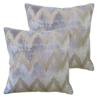 Lee Jofa Belgian Grey Watersedge Velvet Accent Pillows - A Pair