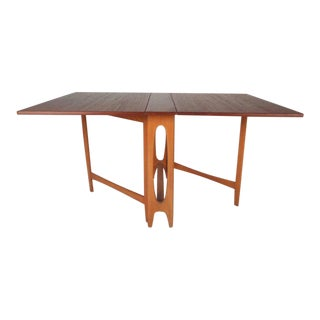 Unique Vintage Modern Drop-Leaf Gate Leg Dining Table