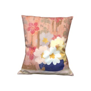 Faded Floral Pink Linen Pillow