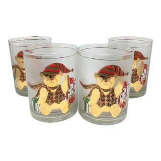 Culver Christmas Bear With Presents Whiskey Glasses - Set of 4