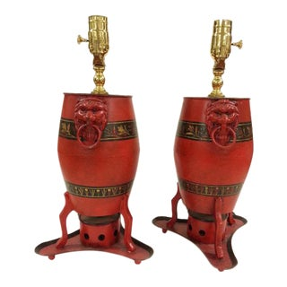 Chinese Export English, Drum Shaped Lamps - a Pair