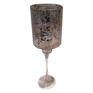Tall Modern Cylindrical Mercury Glass Candleholder