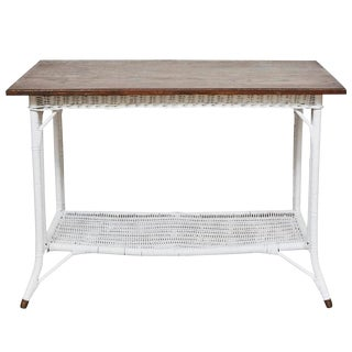 Wicker Table with Shelf