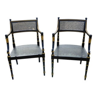 Baker Furniture Black & Gold Dining Arm Chairs - Pair