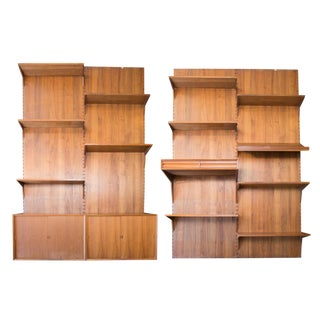 Vintage Cado 4 Panel Walnut Wall System